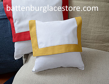 Envelope Pillow.Baby size 8 in. White with Honey Gold color trim